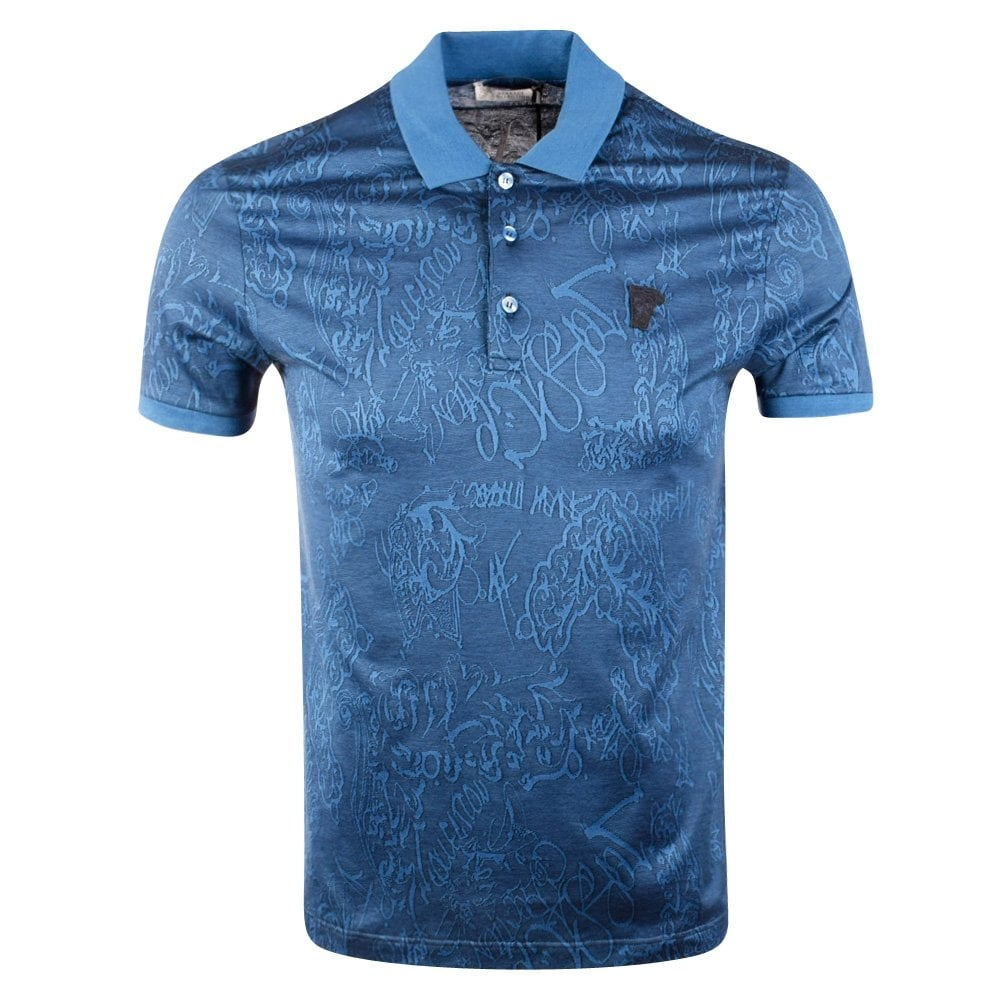 28e9ca61 Versace Collections Royal Blue Patterned Short Sleeve Polo Shirt