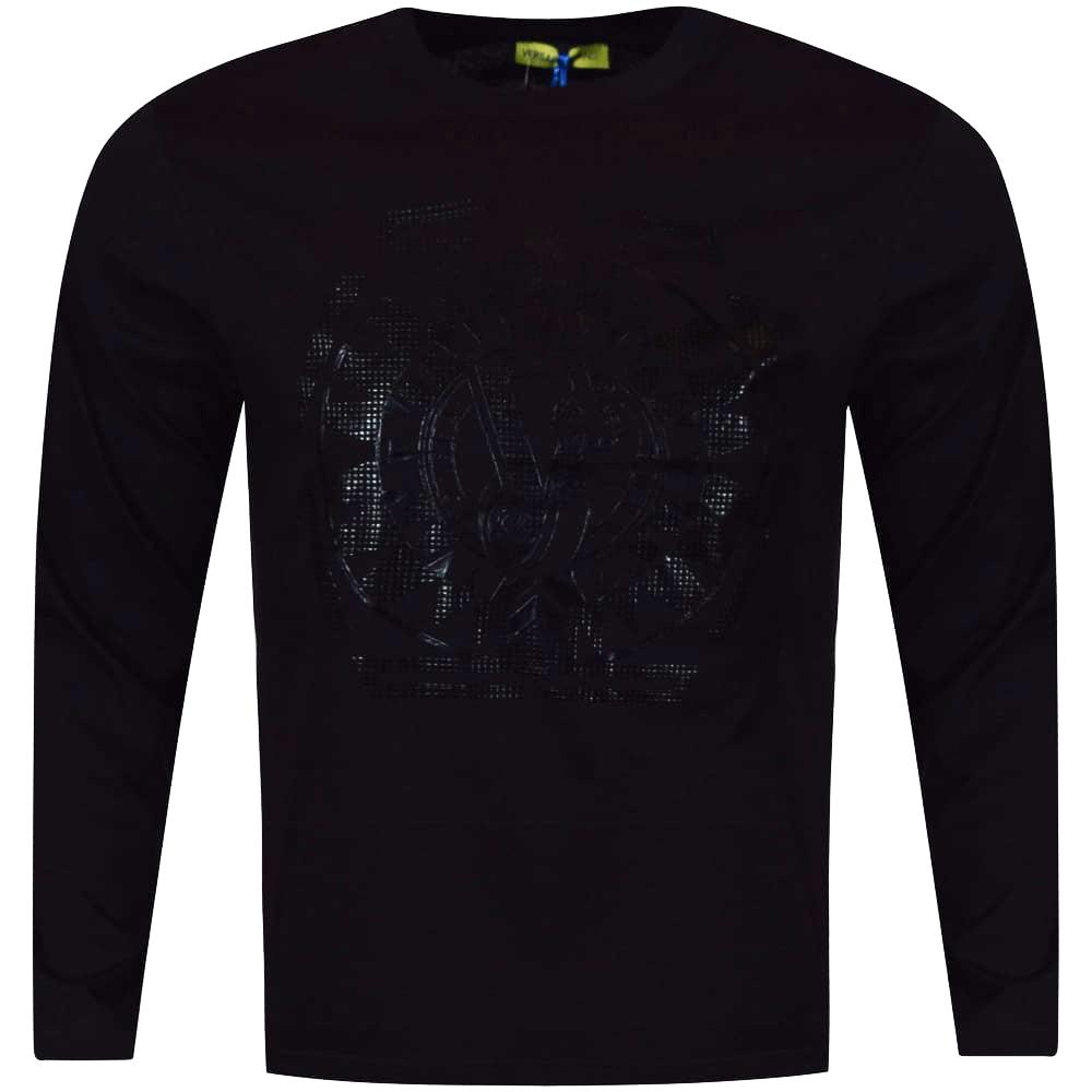 4d693c10e8cb5 VERSACE JEANS Versace Jeans Black Black Large Logo Long Sleeve T ...