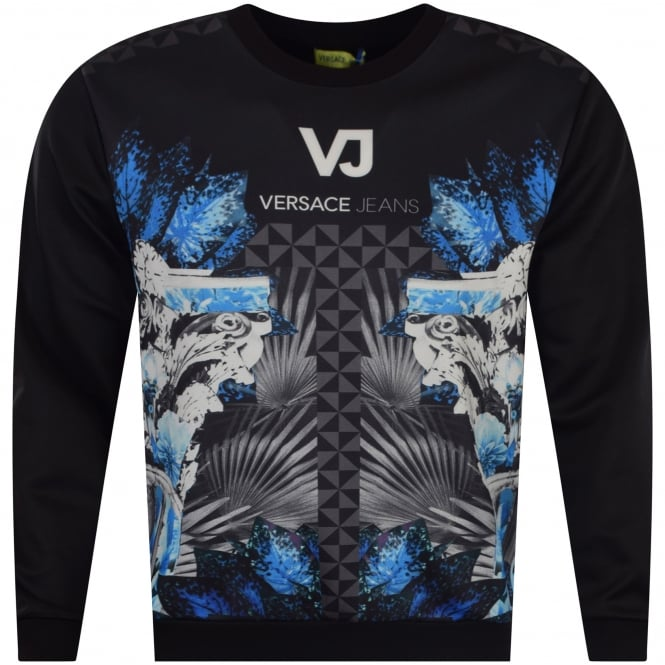 96a9e2fd VERSACE JEANS COUTURE Versace Jeans Black/Blue Neoprene Multi Print ...