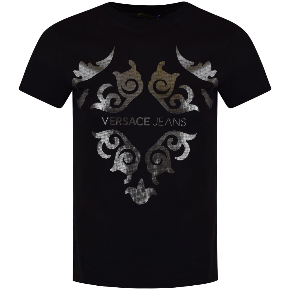 f9af420d VERSACE JEANS Versace Jeans Black Crew Neck Silver Logo T-Shirt ...