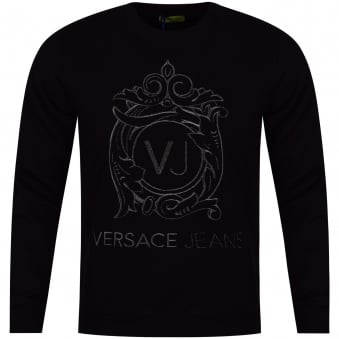 Versace Jeans Black Embroidered Logo Sweatshirt