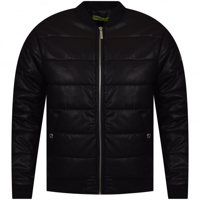 VERSACE JEANS Black Faux Leather Bomber Jacket