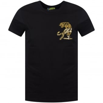 Versace Jeans Black/Gold Chest Logo T-Shirt