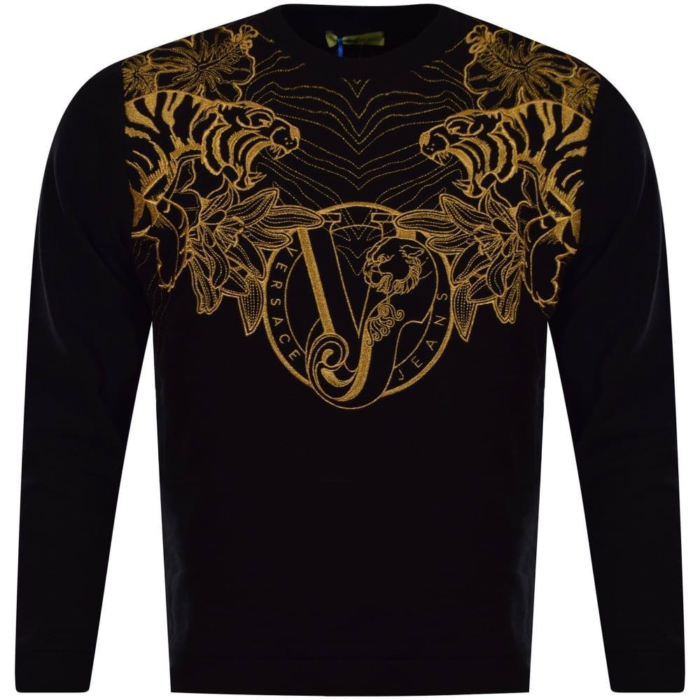 versace jeans versace jeans black amp gold embroidered logo