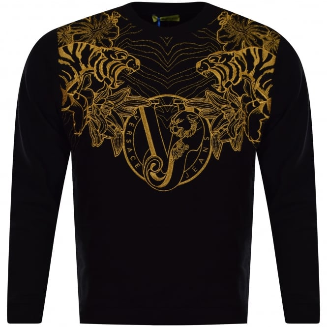 2ee0a0432ff9 VERSACE JEANS Versace Jeans Black   Gold Embroidered Logo Sweatshirt ...