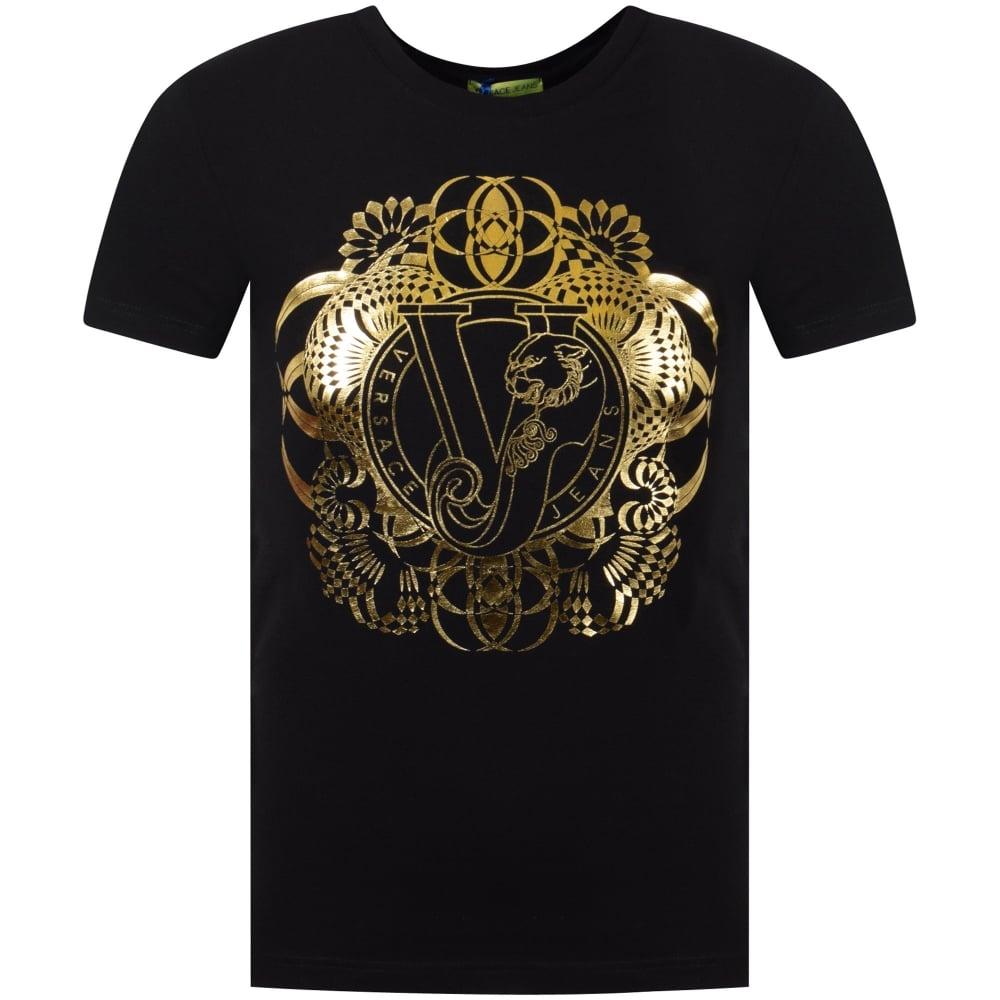 4d01568b VERSACE JEANS COUTURE Versace Jeans Black/Gold Large Logo T-Shirt ...