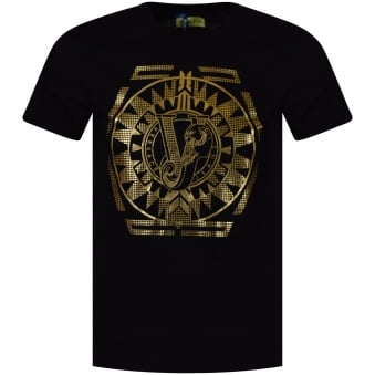 Versace Jeans Black/Gold Large Print T-Shirt