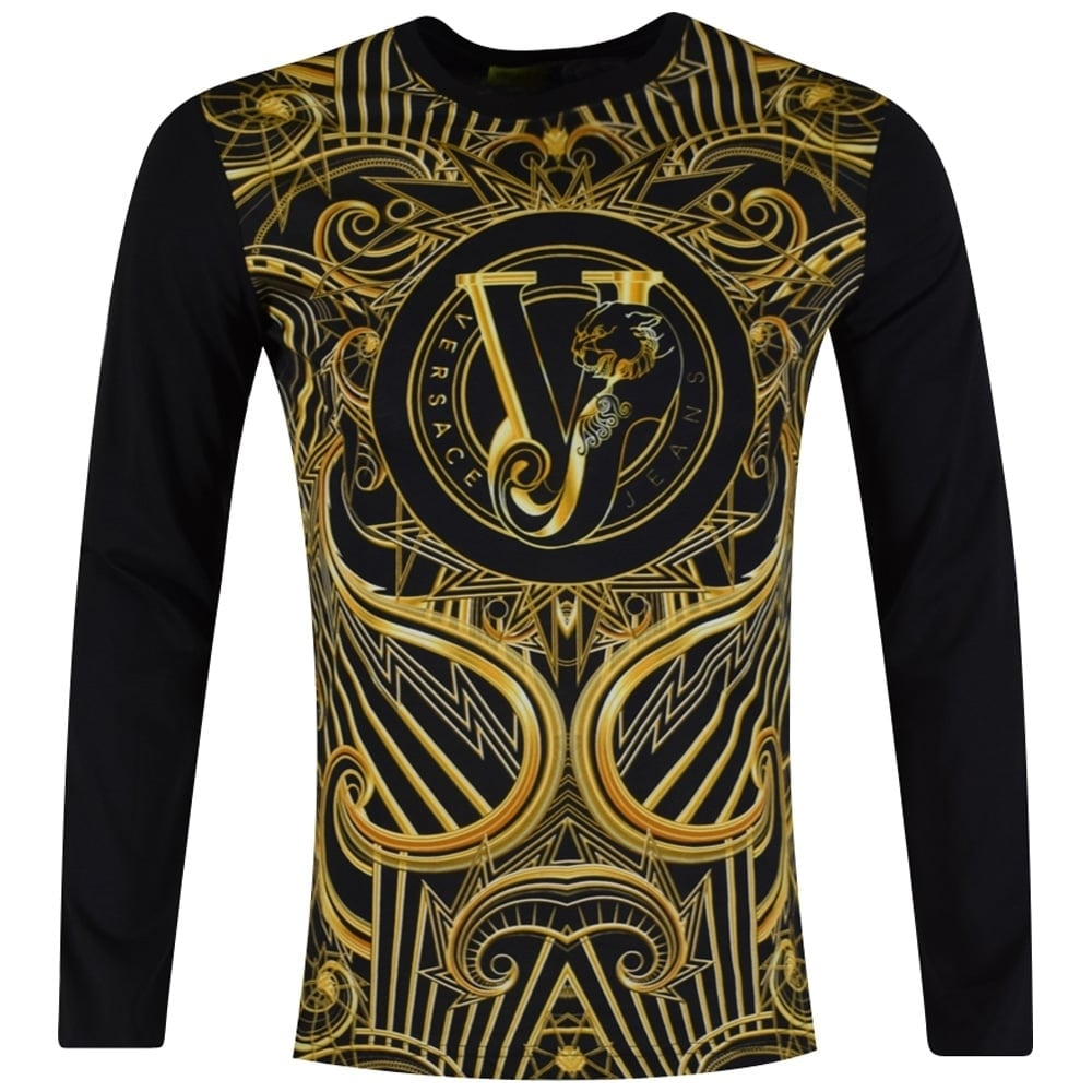 versace jeans versace jeans black gold logo longsleeve t shirt men from brother2brother uk. Black Bedroom Furniture Sets. Home Design Ideas
