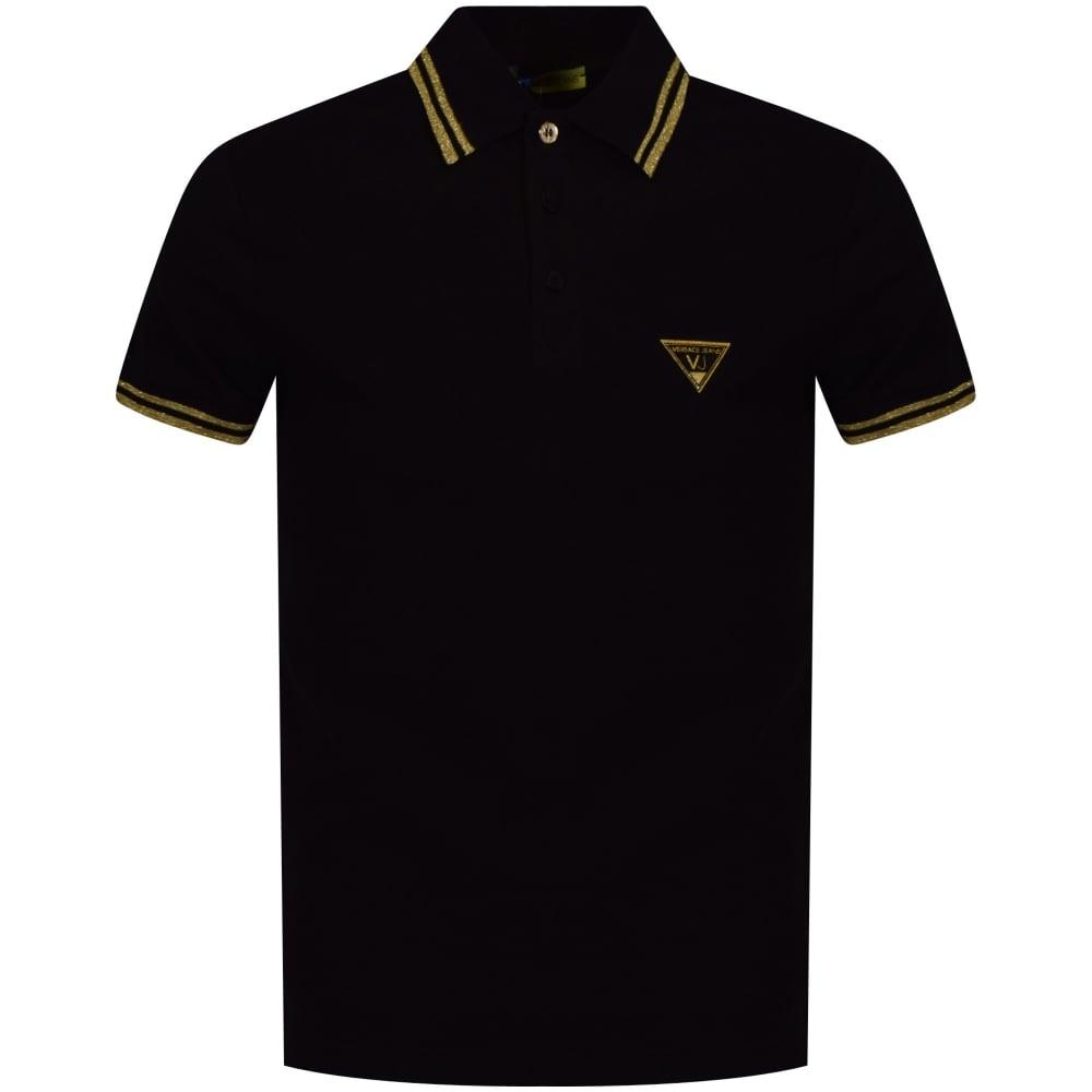 versace jeans versace jeans black amp gold logo polo shirt