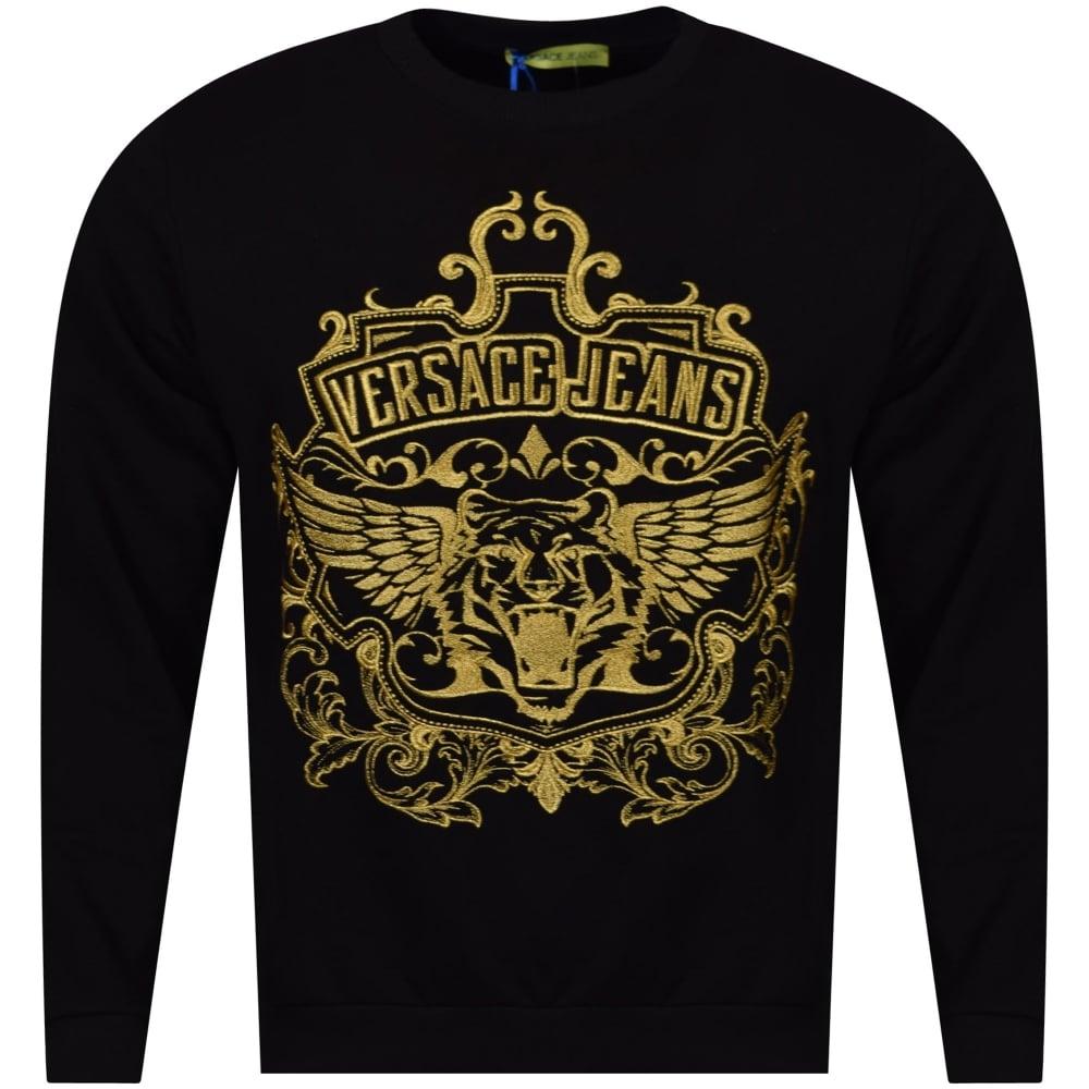 2fffa67a VERSACE JEANS COUTURE Versace Jeans Black/Gold Logo Sweatshirt ...