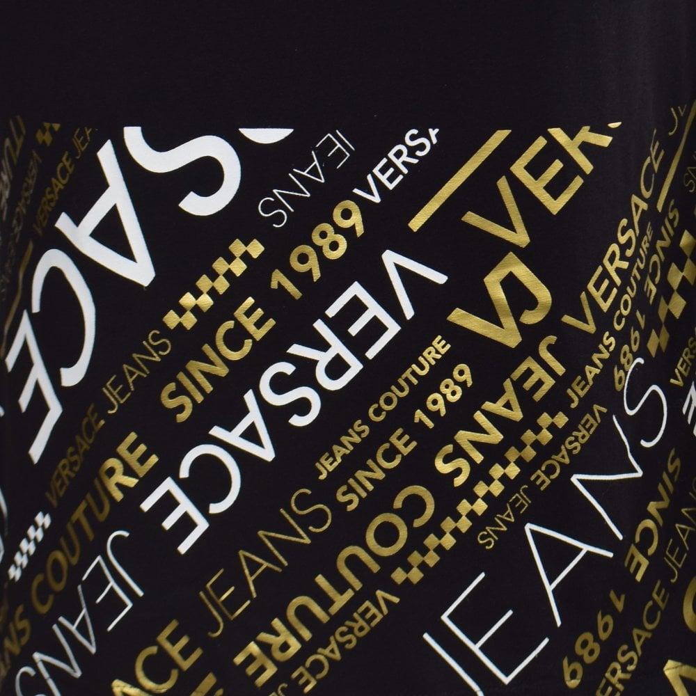 f1c1d2a94 VERSACE JEANS COUTURE Black/Gold Multi-Logo LS T-Shirt - T-Shirts ...