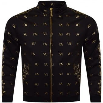 Versace Jeans Black & Gold Multi Logo Track Top