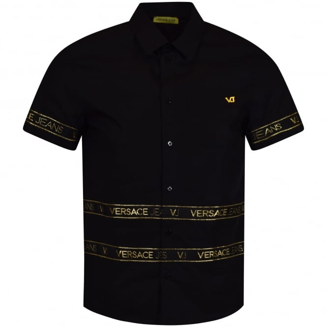 VERSACE JEANS Black & Gold Pocket Logo Short Sleeve Shirt