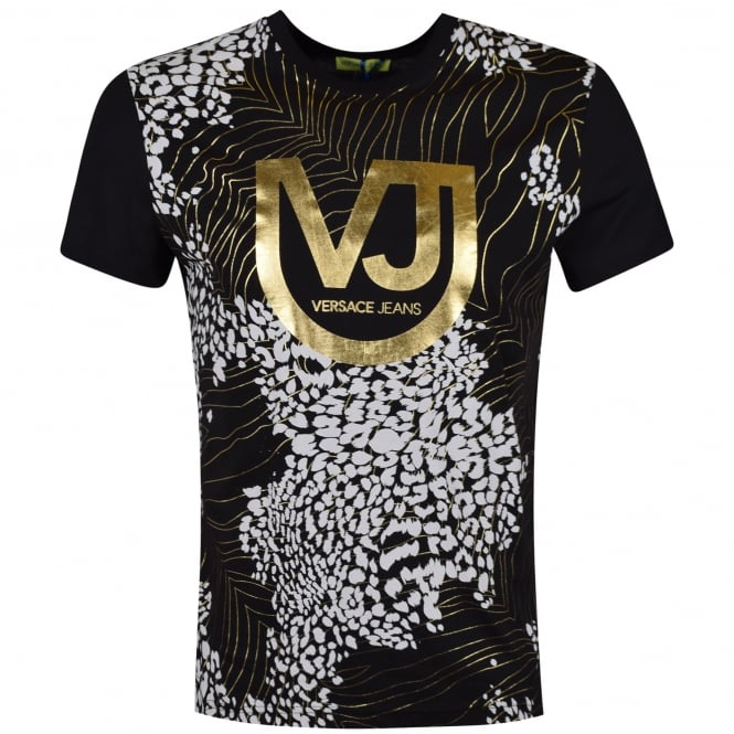 versace jeans versace jeans black gold print t shirt men from brother2brother uk. Black Bedroom Furniture Sets. Home Design Ideas