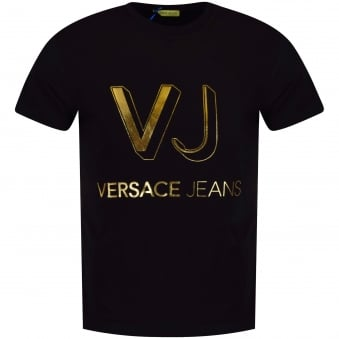 Versace Jeans Black & Gold Printed Logo T-Shirt