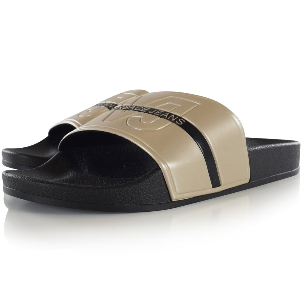 1f34d66ca752 VERSACE JEANS Versace Jeans Black Gold Text Stripe Pool Sliders ...