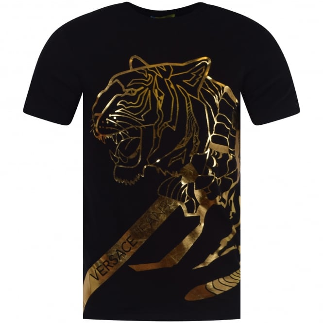 VERSACE JEANS Black/Gold Tiger T-Shirt