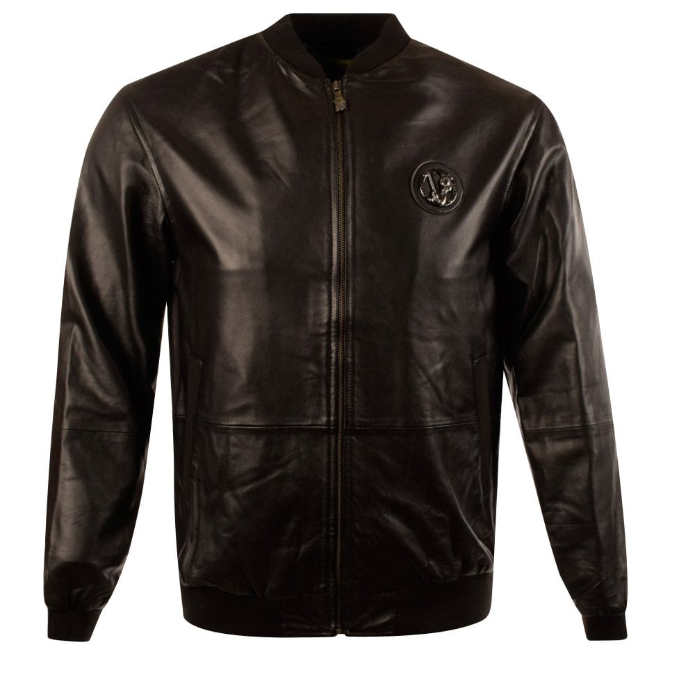 VERSACE JEANS BLACK LEATHER BOMBER JACKET - Men from ...