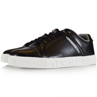 Versace Jeans Black Leather Logo Trainers