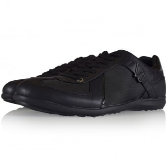 Versace Jeans Black Leather/Mesh Buckle Logo Trainers
