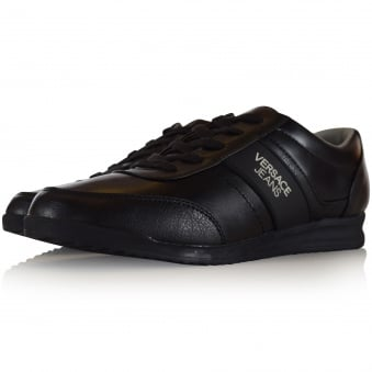 Versace Jeans Black Leather Running Trainers