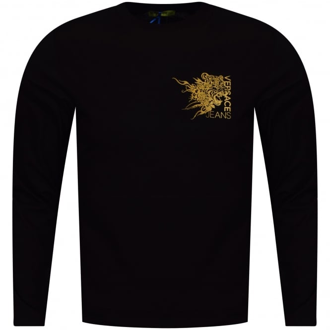 VERSACE JEANS Black Long Sleeved Logo T-Shirt