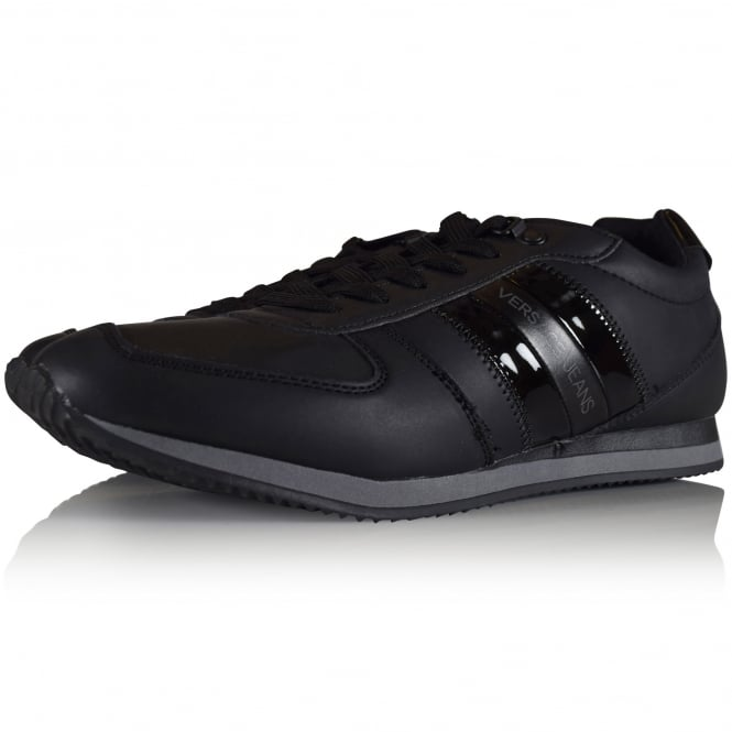 VERSACE JEANS Black Patent Stripe Logo Trainers