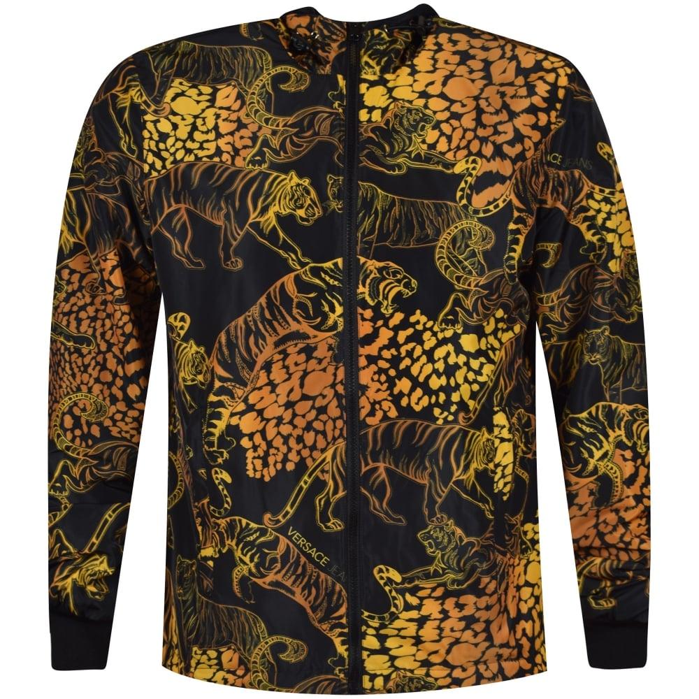 373af61ea VERSACE JEANS Versace Jeans Black Reversible Metallic Tiger Print ...