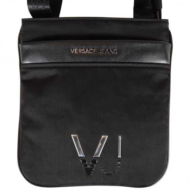 VERSACE JEANS Black/Silver Detailing Cross Body Bag