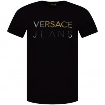 Versace Jeans Black/Silver Large Text Logo T-Shirt