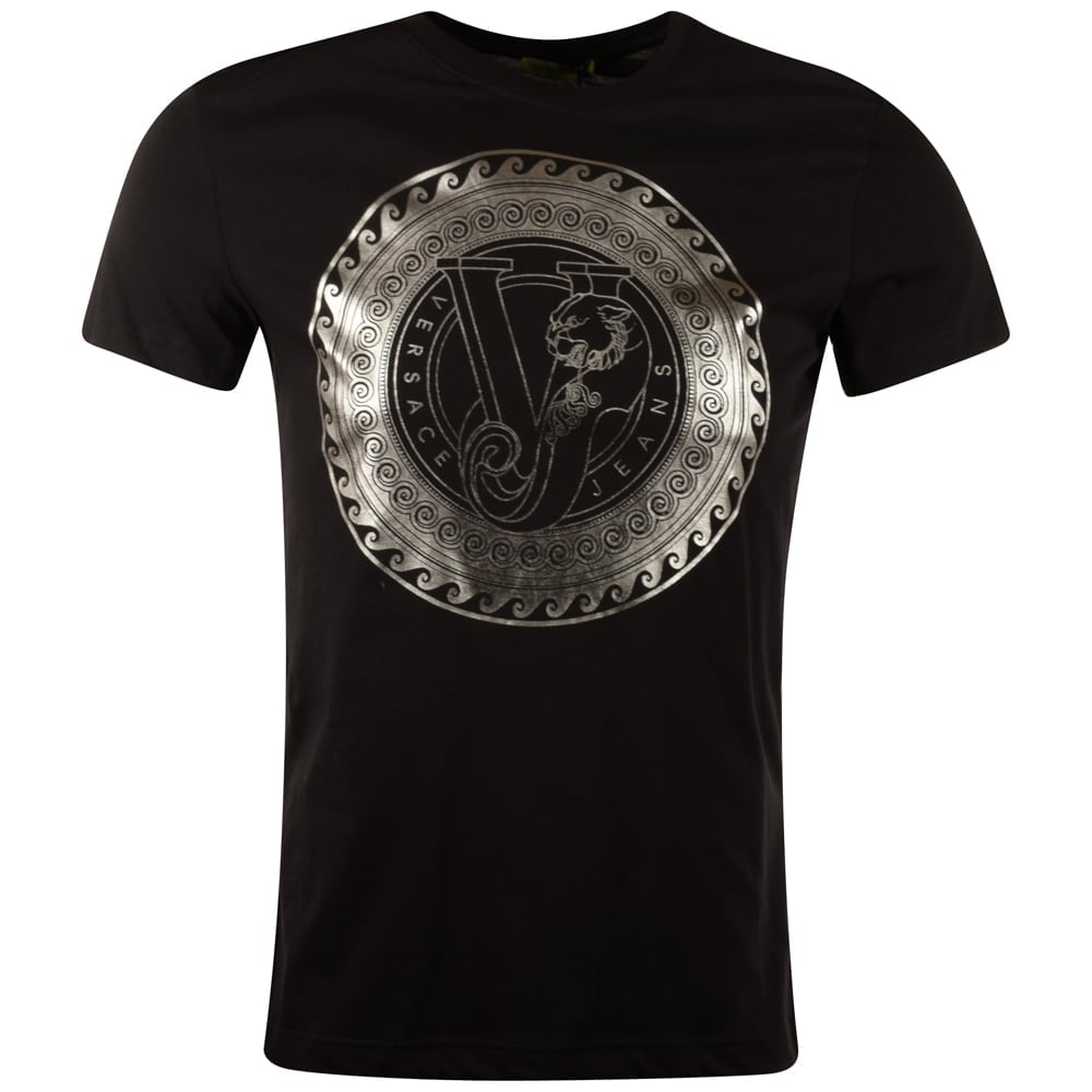 Versace jeans versace jeans black silver print t shirt for Silver jeans t shirts