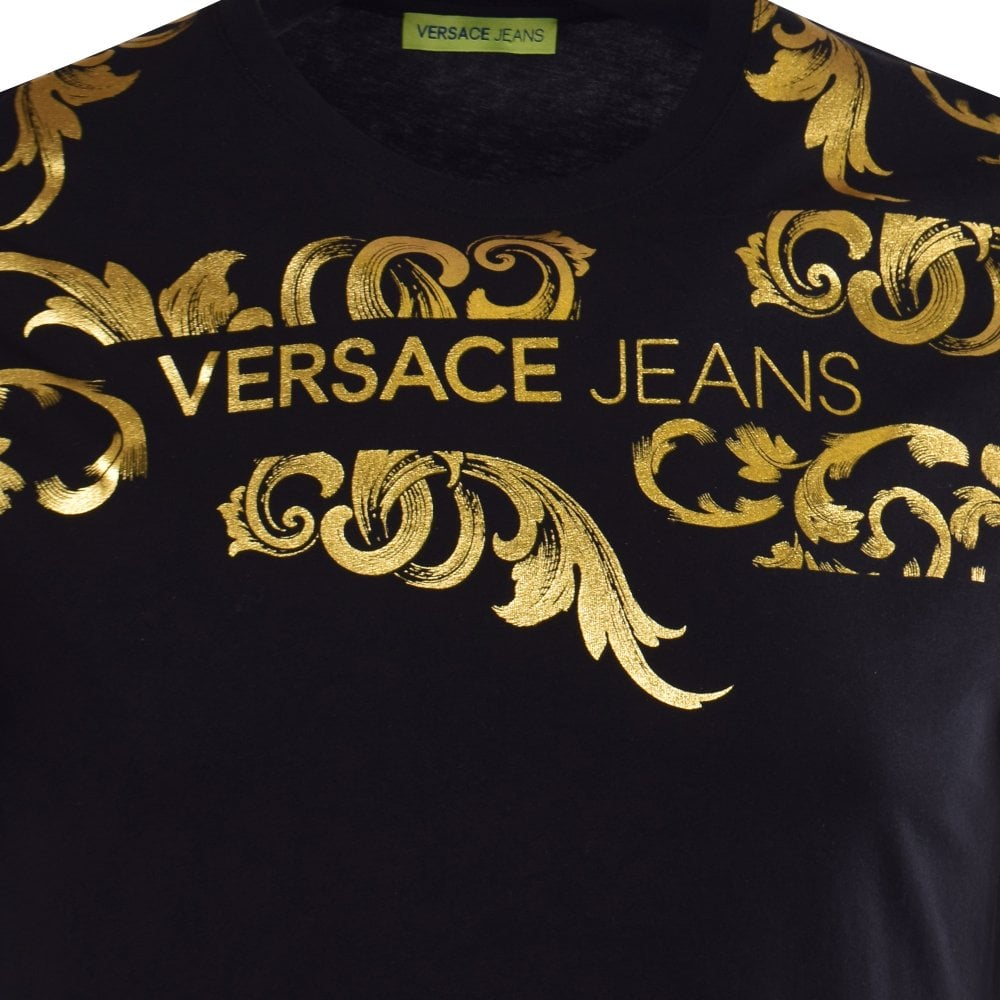 Versace Jeans Black T Shirt With Gold Foil Baroque Print Men From