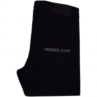 Versace Jeans Black Text Pocket Skinny Fit Jeans