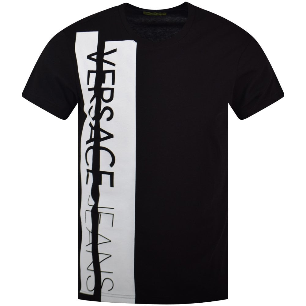 e835b12b VERSACE JEANS COUTURE Versace Jeans Black/White Block Text T-Shirt ...