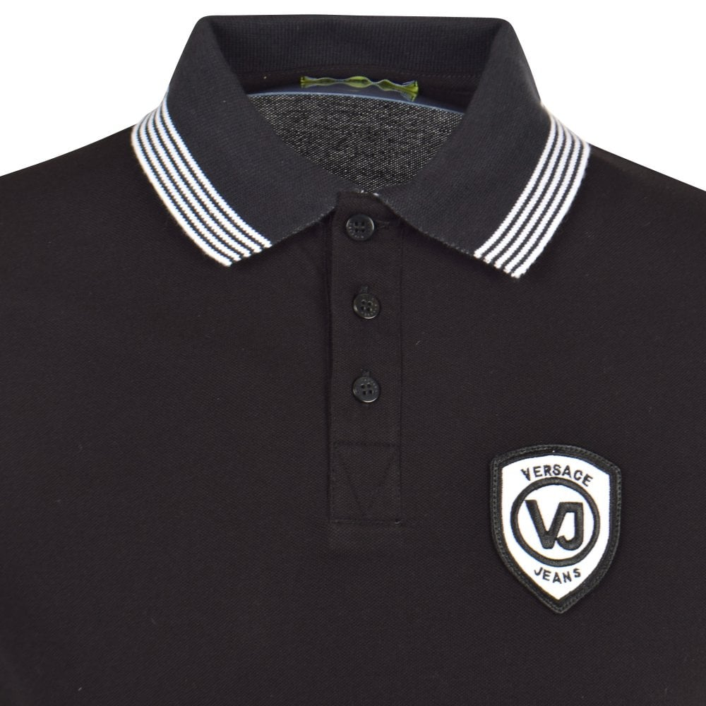 9e744a60a VERSACE JEANS Black/White Logo Trim Polo Shirt - Department from ...