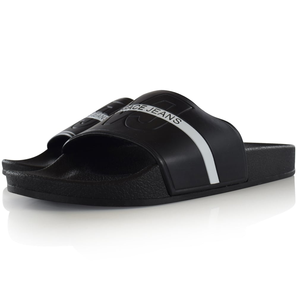 0d08174887e3 VERSACE JEANS Versace Jeans Black White Stripe Text Sliders - Men ...