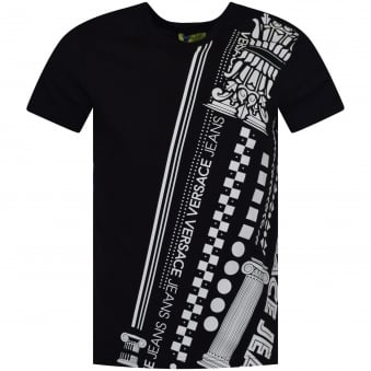 Versace Jeans Black/White Studded Print T-Shirt