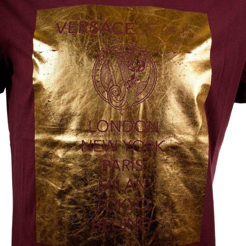 burgundy versace shirt