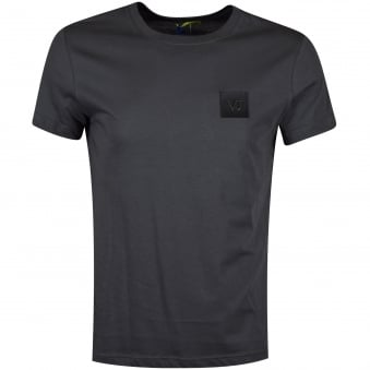 Versace Jeans Charcoal Leather Logo T-Shirt
