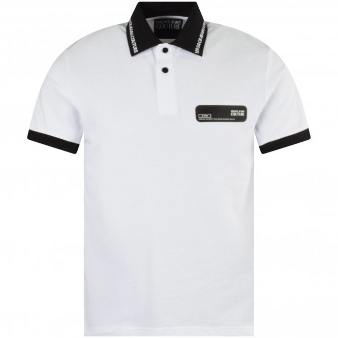 VERSACE JEANS COUTURE White Rubber Logo Polo Shirt Front