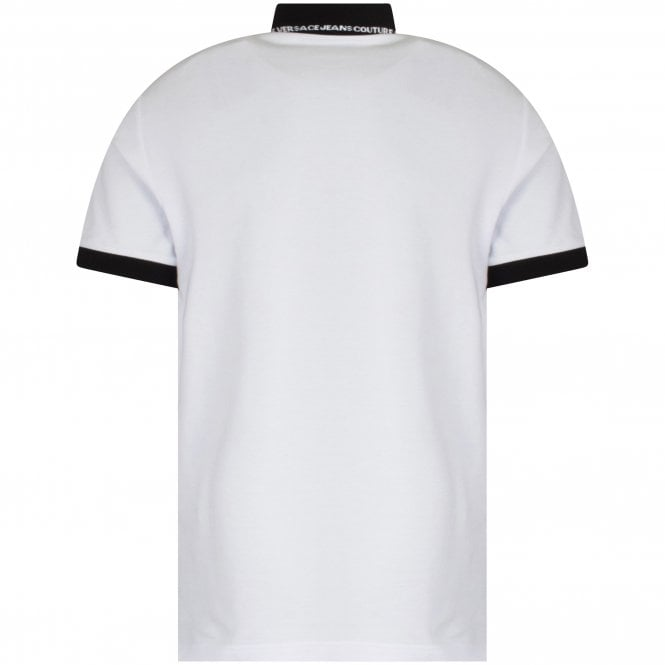 VERSACE JEANS COUTURE White Rubber Logo Polo Shirt Reverse