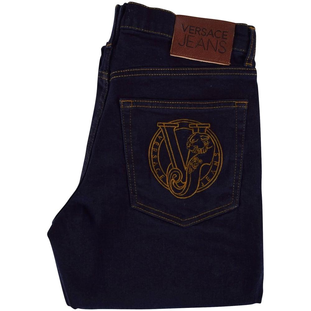 1b841bb2153b VERSACE JEANS Versace Jeans Dark Wash Pocket Logo Skinny Fit Jeans ...