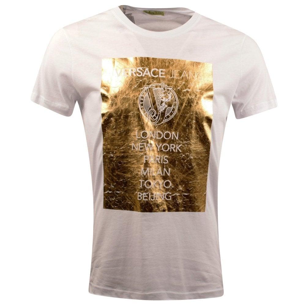 VERSACE JEANS Versace Jeans Gold Print White T-Shirt - Men from ... d8351658620e