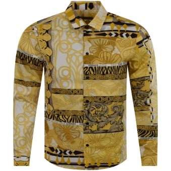 Versace Jeans Gold & White Print Shirt