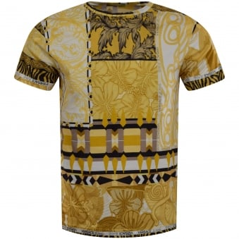 Versace Jeans Gold & White Print T-Shirt