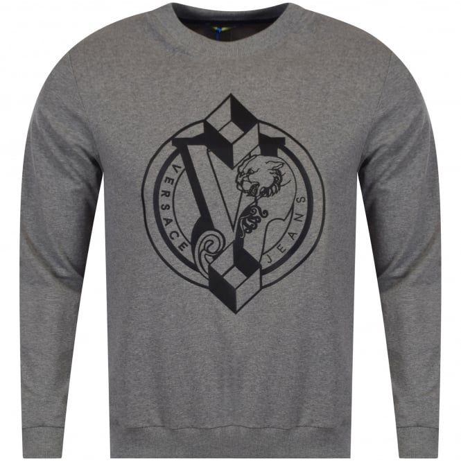 VERSACE JEANS Grey Logo Print Sweater