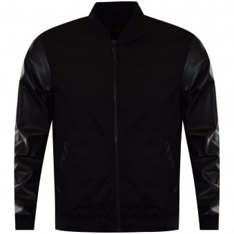 Versace Jeans Leather Bomber Style Contrast Jacket