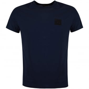 Versace Jeans Navy Leather Logo T-Shirt