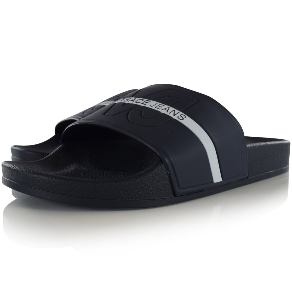 65fcbb734ff7 VERSACE JEANS Versace Jeans Navy White Text Stripe Sliders - Men ...