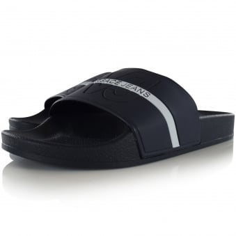 Versace Jeans Navy/White Text Stripe Sliders